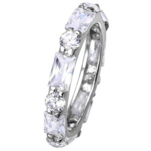 Sterling Silver Baguette CZ Eternity Ring band